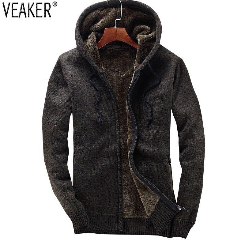 2018 de Inverno dos homens Novos Com Capuz Sweatercoat Masculino Suéter Grosso Casaco Casacos Quente Casual Camisola de Malha Outerwear M-3XL