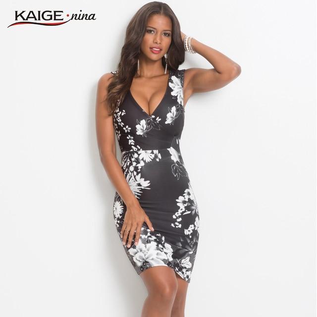 28738b1d199 KaigeNina Dress Summer Women Floral Print Dress V-Neck Sleeveless Sexy  Sheath Dress New Fashion Casual Knee-Length Dress 18088