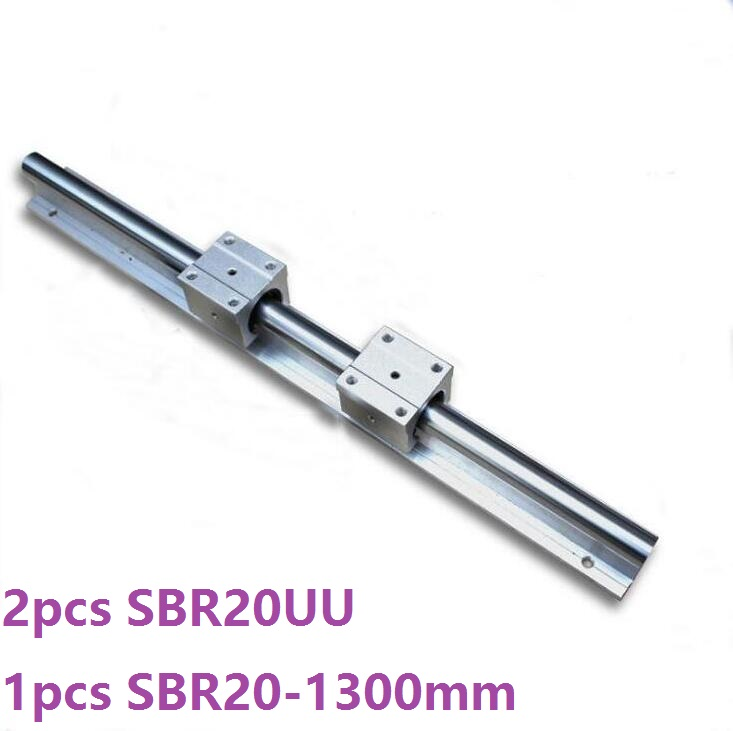 1pcs SBR20 - 1300mm linear guide rail support + 2pcs SBR20UU bearing blocks cnc router parts