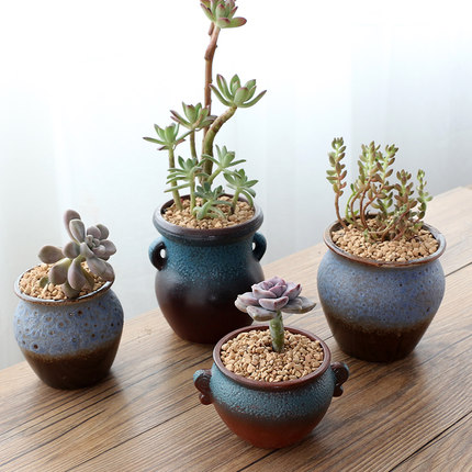 Simple Creative Fleshy Ceramic old Pile Flower Pot Office Table Succulent Stoneware Green Plant indoor Small Flower Pot