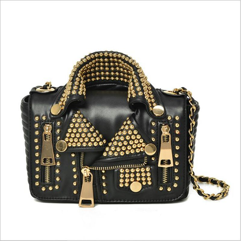 Free shipping 2017 NEW Designers Women Leather Bags Handicraft Rivet Jacket Punk Style Messenger Bags Shoulder Crossbody Bag Go free shipping 2017 new designers women leather bags handicraft rivet jacket punk style messenger bags shoulder crossbody bag go