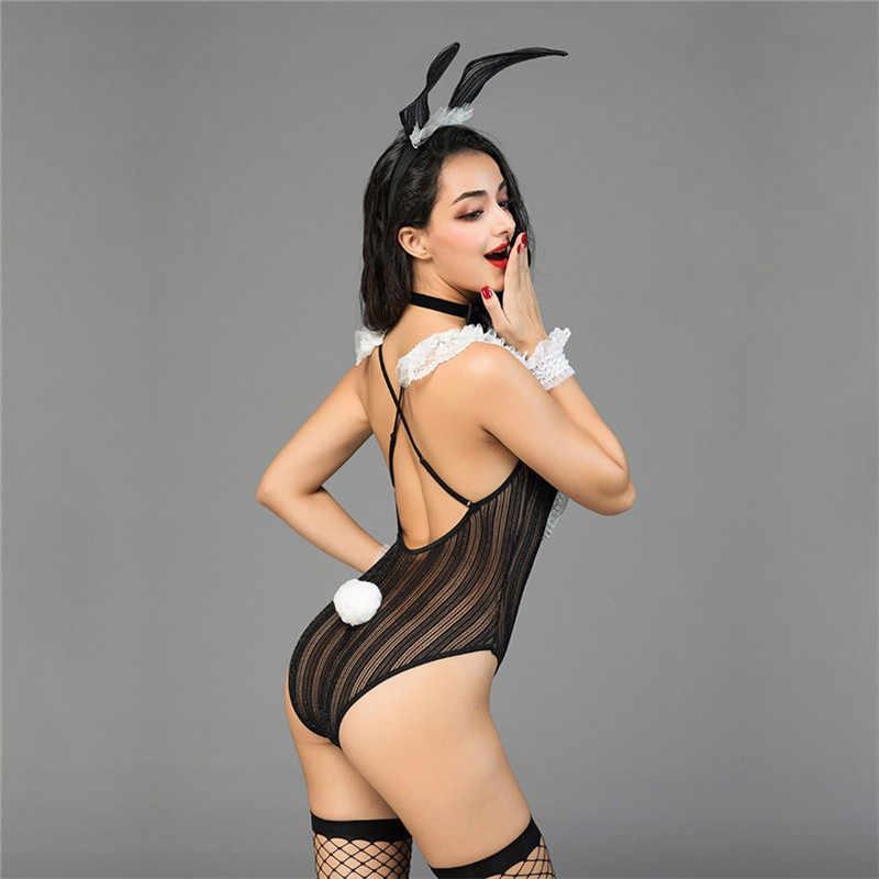 Женское боди сексуальное горячее эротическое боди с кроликом для девочек косплей костюм пикантный эротичный нижнее белье Babydoll Прозрачное Кружевное боди Тедди