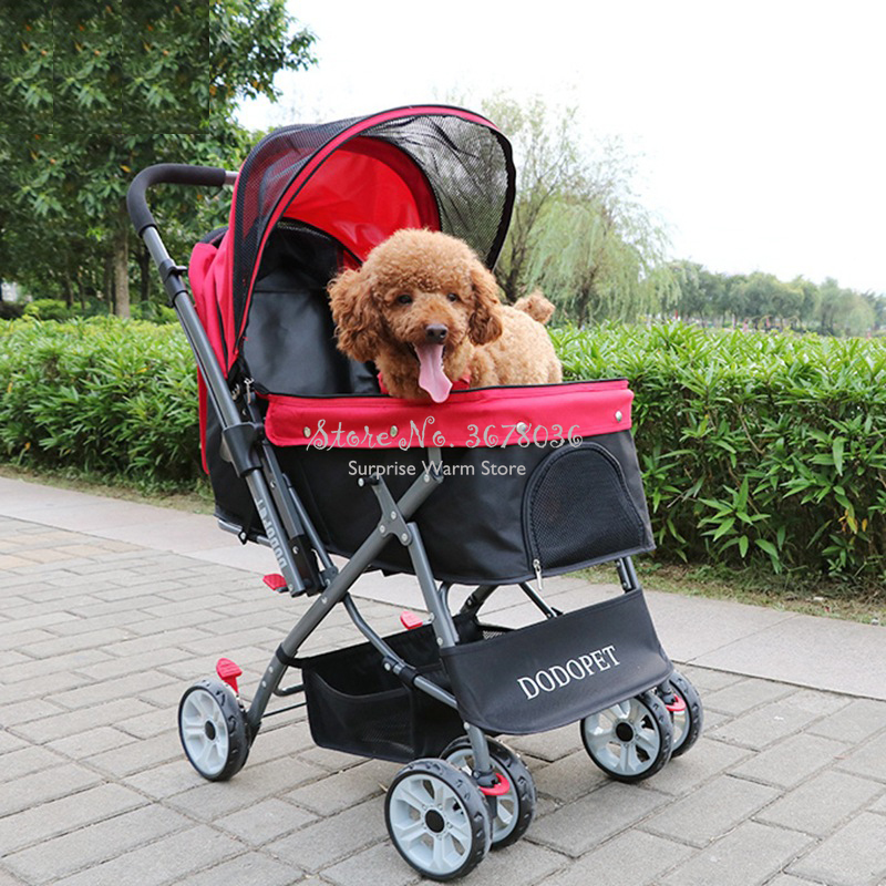 H Four Wheel Pet Stroller for Cat Dog Foldable Carrier Strolling Cart with Convertible Directional Handle Large Space CartH Four Wheel Pet Stroller for Cat Dog Foldable Carrier Strolling Cart with Convertible Directional Handle Large Space Cart