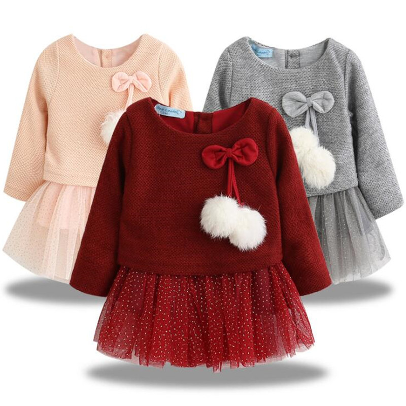 Baby Girl Dress Toddler Spring Autumn Long Sleeve Lace Princess Party Prom Tulle Solid Color Dress Bow For 0-24M 3-Colors title=
