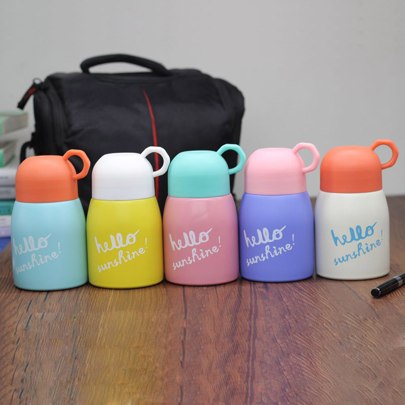 320ML 480ml Cute Girls Stainless Steel Baby Feeding Thermal Cup Vacuum Flask Kids Travel Water Bottle Leak-poof Insulated Cup