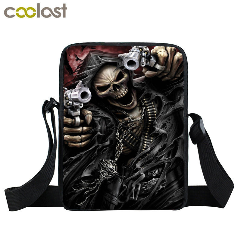 Grim Reaper Skull Handbags Women Messenger Bags Cool Rock Crossbody Bag Kids Shoulder Bag For Teenager Boys Girls Best Gift reaper man