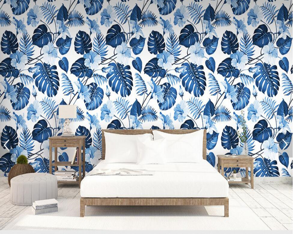 Custom floral wallpaper,blue tropical plant murals for the living room bedroom TV background wall decorative papel de parede jocelyn rose k c annual plant reviews the plant cell wall isbn 9781405147736