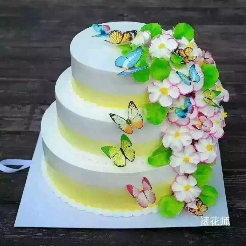 34pcs 3d Edible Butterfly Cake Decoration Wedding Birthday Party
