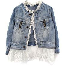Spring Autumn Girls Fashion Jean Jackets Kids Lace Coat Long Sleeve Button Denim Outwear For 2-7Y