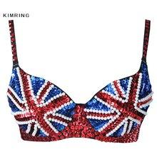 aefbcbb068 Kimring Sexy Sequins Beads British Flag Bra Nightclub Belly Dancing Bra  Push Up Brassiere Punk Rock