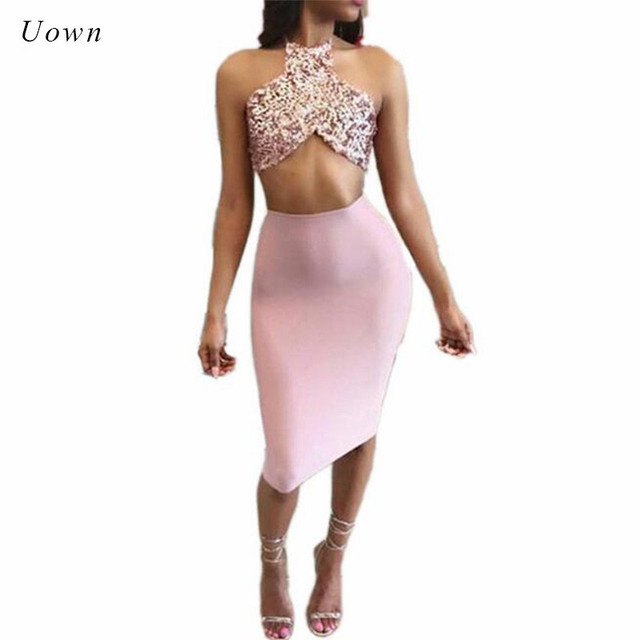 ff938f6ac6 Sexy Two Piece Sets Women Summer Strapless Halter Backless Bow Sequin Crop  Top and Skirt Set