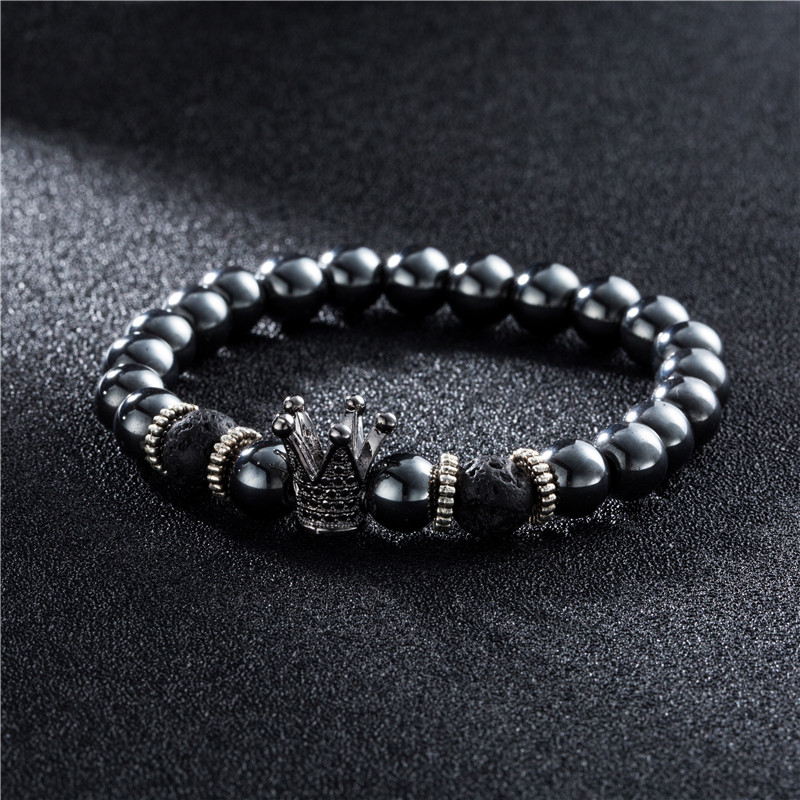 Crown Helmet Dumbbell Charms Bracelet for Men Male Beads Strand Bracelet Wrap Bracelets Bangles Jewelry Accessories 2018