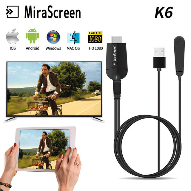 100% D'origine MiraScreen K6 Dual Band 2.4g et 5g Sans Fil Wifi Affichage Dongle HDMI Tv Bâton Miracast Dongle adaptateur pour mac, pc, ios