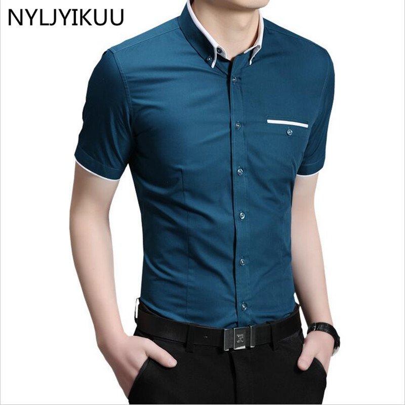 New fashion contrast color collar men shirt short sleeve for Mens high collar dress shirts