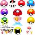 9 unids 7 cm Pokeball + 9 unids Pikechu ABS Figuras Anime Japonés Caliente Pokeball Poke Bola Juguetes Cosplay Colecciones regalos de Navidad de regalo