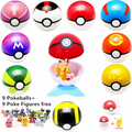 9pcs 7cm Pokeball +9pcs Pikechu ABS Figures Japanese Hot Anime Poke Ball Pokeball Toys Cosplay Collections Gifts Christmas gift