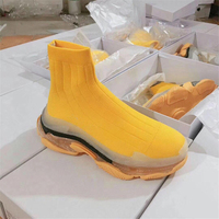 Luxury Deisgn Women Sock Boots Sexy Knit Clear Bottom Platform Shoes Woman Casual Ankle Booties Female Sneakers Slip on Wedges