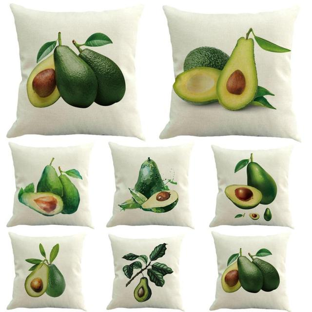 Decorative Cushion Covers Green Avocado Cotton Linen Cover Throw Pillow Case Sofa Home Decor 45