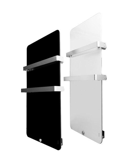 Panneau Vertical mural de radiateur de salle de bains électrique avec deux porte-serviettes