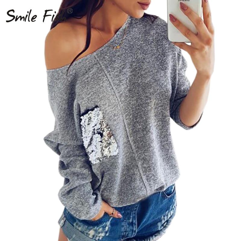 Off Shoulder Knitted Sweatshirt