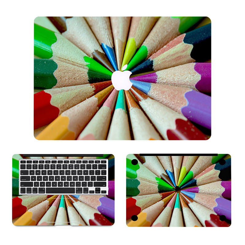 Rainbow Pencil 3 in 1 Laptop Decal Sticker Set for MacBook Air Pro Retina 11 12
