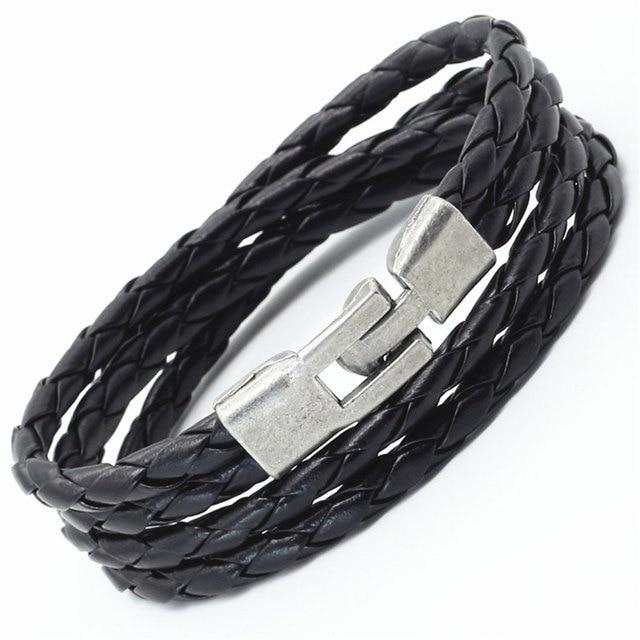 New Trendy Fashion Handmade Vintage Alloy Cuff Wrap Weave PU Leather Female Femme Homme Male Men Bracelet For Women Jewelry