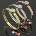High Quality 316 L Stainless Steel Bangles Interchangeable Four Color CZ Stone Bangle Bracelet for Women Gift