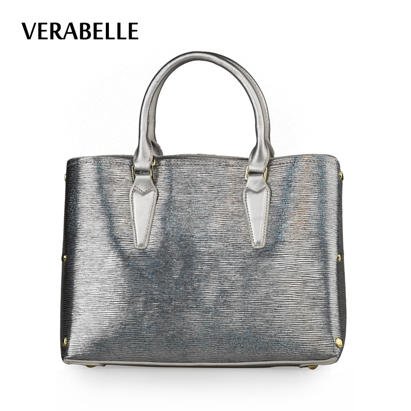 VERABELLE PU leather top -handle women totes handbag casual rivets female shoulder messenger composite two bags in one set lz 042 cool style pu leather one shoulder bag handbag w rivets black