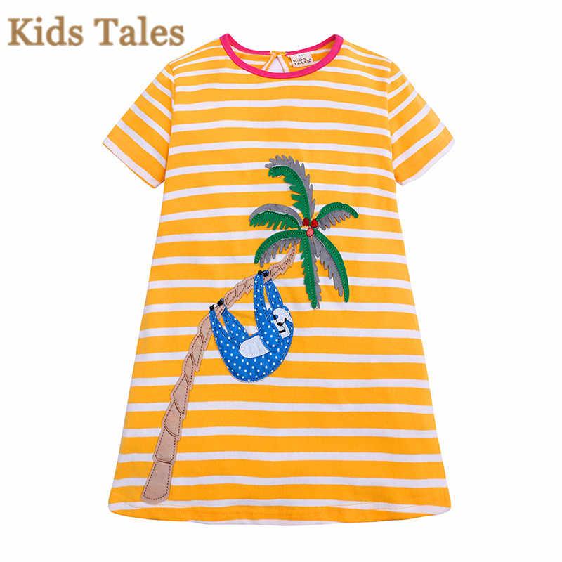 PD032 От 1 до 6 лет платье для девочек Новая летняя модная повседневная одежда в полоску Одежда с круглым вырезом для детей животного с вышивкой одежда для девочек платье принцессы