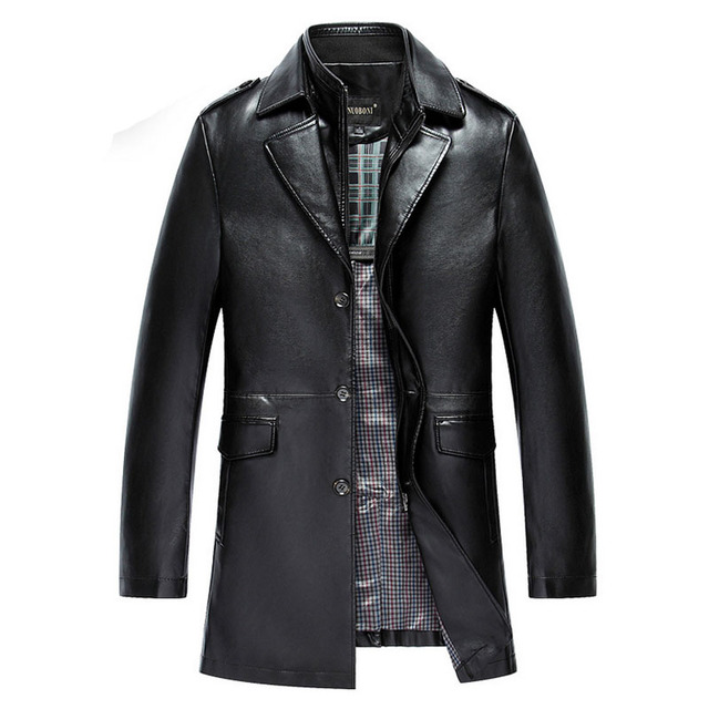 Winter Leather Suede Jacket Men Black Male Blazer Epaulet Double Collar Mens Long Leather Coats Cool Pu Motorcycle Jackets Brand