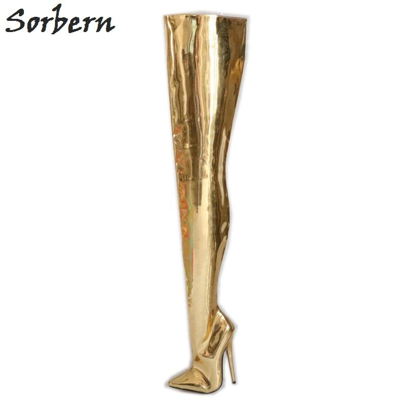 Sorbern arbre dur personnalisé entrejambe cuissardes bottes pour femmes Sexy fétiche chaussures à talons hauts Lad 18 Cm Stiletto Boot or métallique