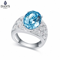 DAN'S ELEMENT New Sales Genuine Austrian Crystal White Gold Color Oval Rings For Women Valentine's Gift 111780