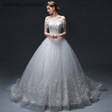 Vestido de Noiva Off-the-Ball Ball Gown Wedding Dresses dengan Bead Lace Appliques