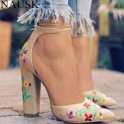 NAUSK الأزياء 2018 حذاء من الجلد المدبوغ امرأة صندل طرز عالية الكعب النساء الصنادل العرقية زهرة الأزهار حزب Sandalias Zapatos موهير