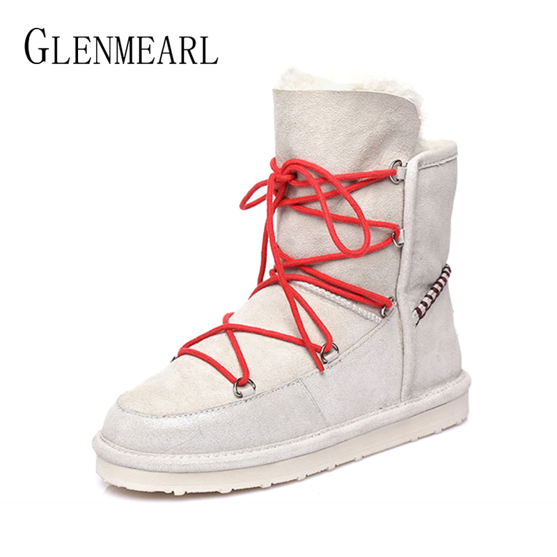 Women Winter Boots Genuine Leather Snow Boots Ankle Warm Fur Shoes Woman Flats Round Toe Female Casual Shoes Platform Plus Size gdgydh 2018 fashion new winter shoes platform warm fur snow boots women lacing round toe shoe female wedges ankle boots female