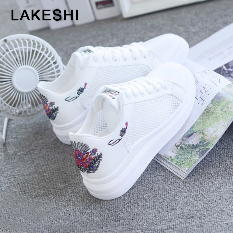 LAKESHI Fashion Embroidered Casual Women Shoes 2018 Summer Women Shoes Breathable Hollow Lace-Up Women Sneakers stylish scoop neck embroidered lace spliced cover up for women