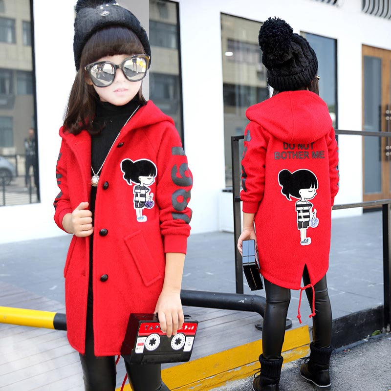 ФОТО Girls Clothing 2016 Teenager Girls Winter Coat Wool Jackets Outerwear Cartton Warm Coat Kids Jacket for Girls Children Clothes