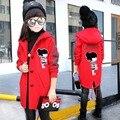 Ropa de las muchachas 2016 Adolescente Niñas Abrigo de Invierno Chaquetas de Lana prendas de Vestir Exteriores Cartton Embroma la Capa Caliente de la Chaqueta para Niñas Ropa de Los Niños
