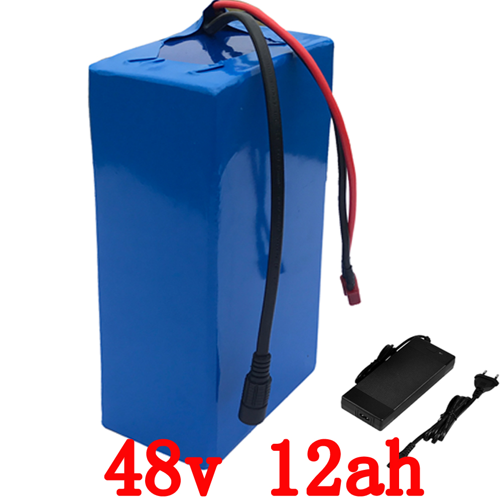 Free Shipping 48V 12AH 1000W  Electric Bike Battery 48V 12Ah Lithium Battery  PVC Case with 30A BMS 54.6V 2A Charger 48 volt li ion battery pack electric bike battery with 54 6v 2a charger and 25a bms for 48v 15ah lithium battery
