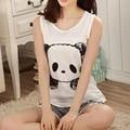 Quente de Verão panda Pijamas set mangas sleepwear animais impressos mulheres meninas dos desenhos animados Pijamas pijama colete terno