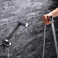 Brass Mixer Bathroom Toilet Portable Spray With Shower Holder Handheld Bidet Grifo Ducha Bidet Faucet HP7012