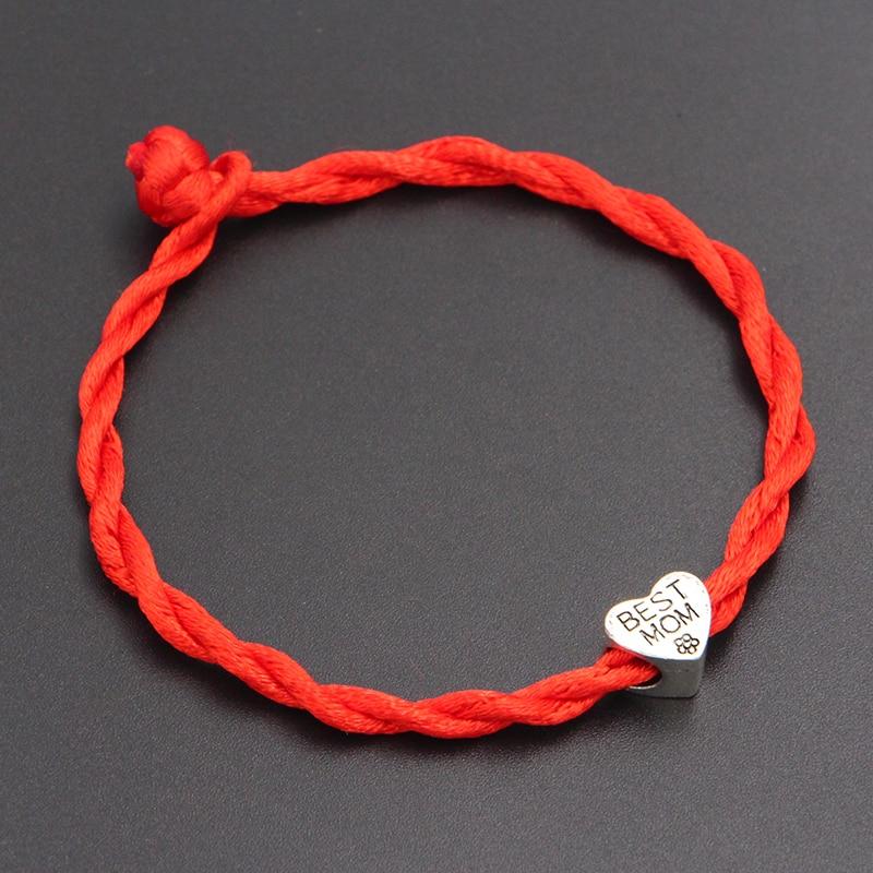 2020 New Best Mom Heart Beads 4mm Red Thread String Bracelet Lucky Red Handmade Rope Charm Bracelet for Women Men Jewelry