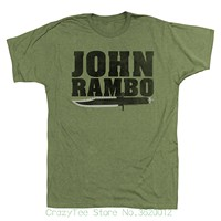 Harajuku Cool Tshirt Homme Rambo 1980 S Action Thriller War Movie John Rambo Knife Army Green