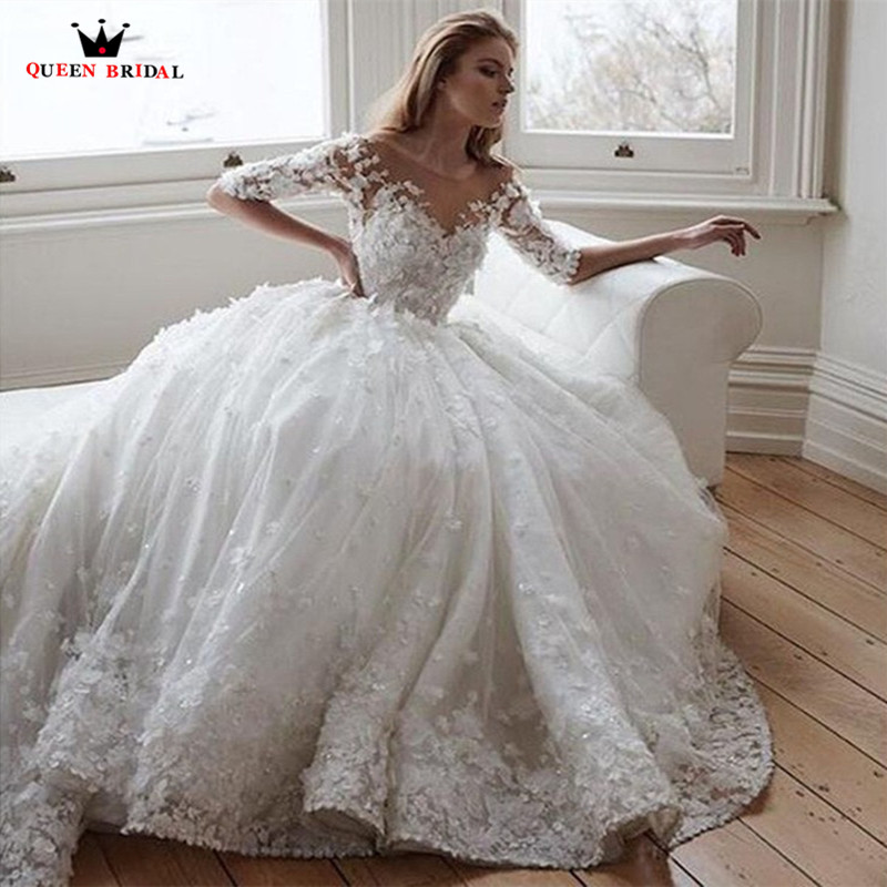 Luxury Vintage Empire Half Sleeve Fluffy Long Train Tulle Flowers Crystal Peals Beaded Wedding Dress Bridal