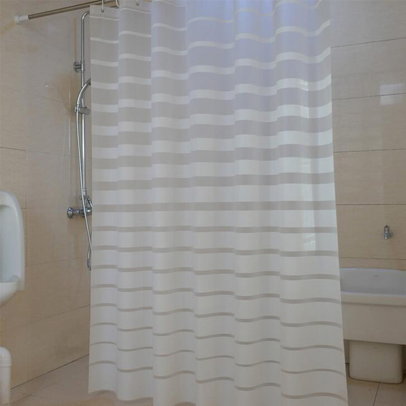 Plastic Shower Curtains PEVA White Striped Bath Screen For Home Hotel Bathroom Waterproof Mold Proof Curtain With Hooks In From