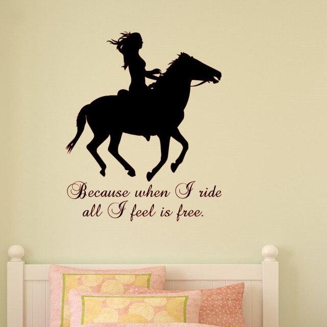 omdat wanneer ik rit alle ik voel is gratis slaapkamer muurdecoratie paard en meisjes interieur muurstickers