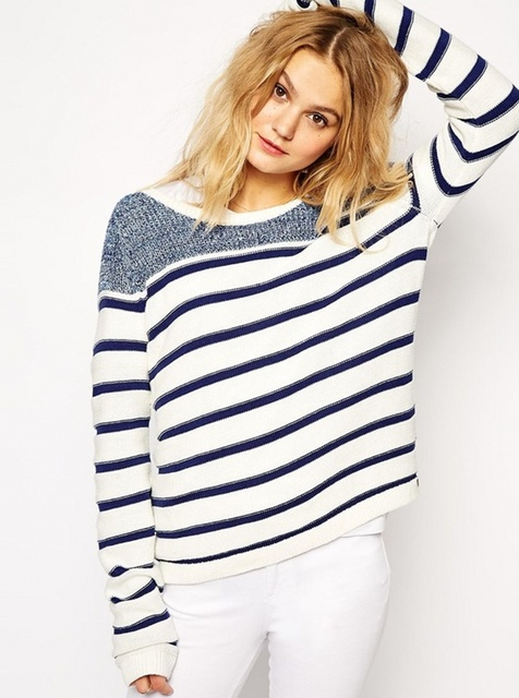 Navy Style Sweater Women Blue White Striped Pullover Loose Autumn ...