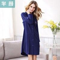 Women Cotton Sleepshirt NightGown Solid Two Colors Full Sleeve Night Shirt Spring SleepWear Woman NightWear Free Shipping