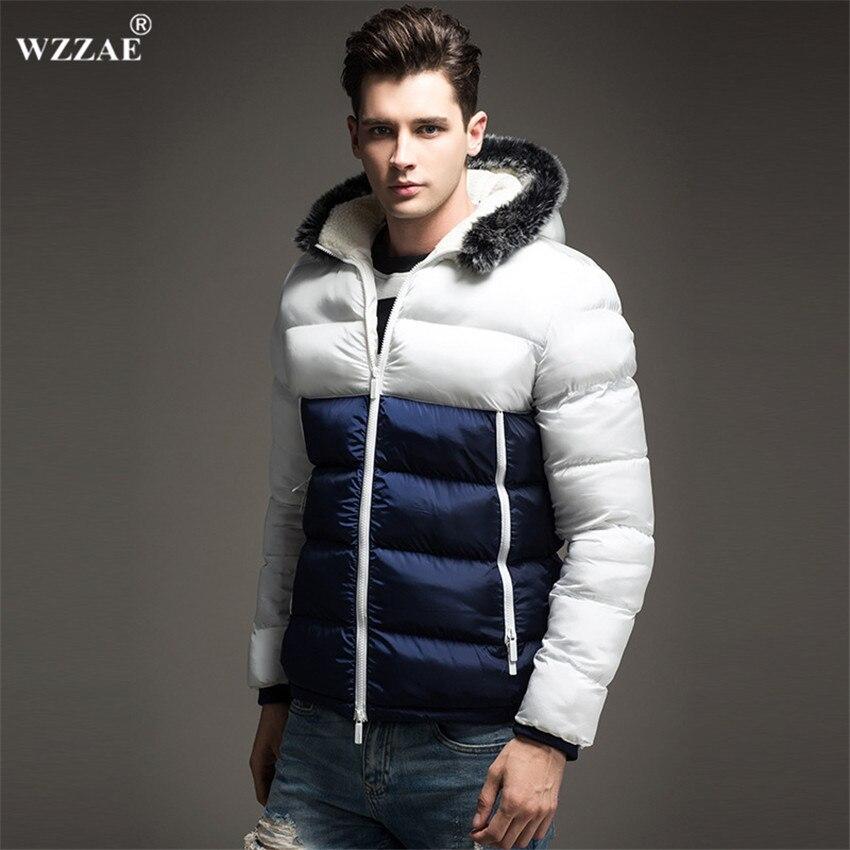 WZZAE 2018 Новый Для мужчин куртка с Цвета осенняя и зимняя куртка Для мужчин с капюшоном плотная одежда мужской моды Повседневное пальто на мол...