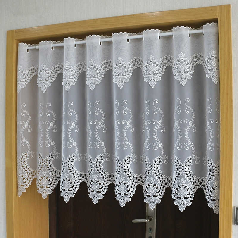 Half-curtain White Flower Embroidered Wear Curtain Window Valance Lace Hem Coffee Curtain for Kitchen Cabinet Door